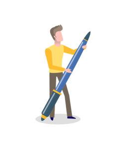 un homme avec un énorme stylo